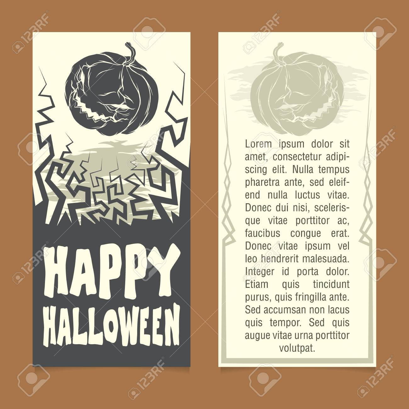 Halloween Invitation Template. Front And Back Sides Royalty Free ...