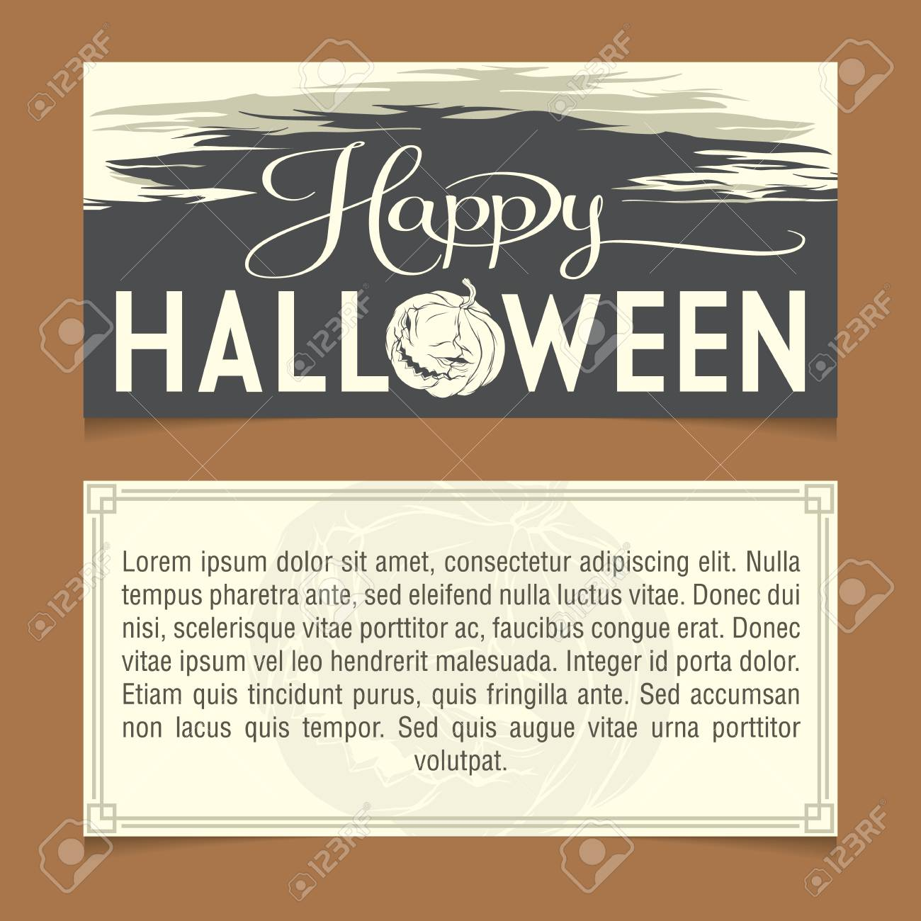 halloween invitation template front and back sides royalty free