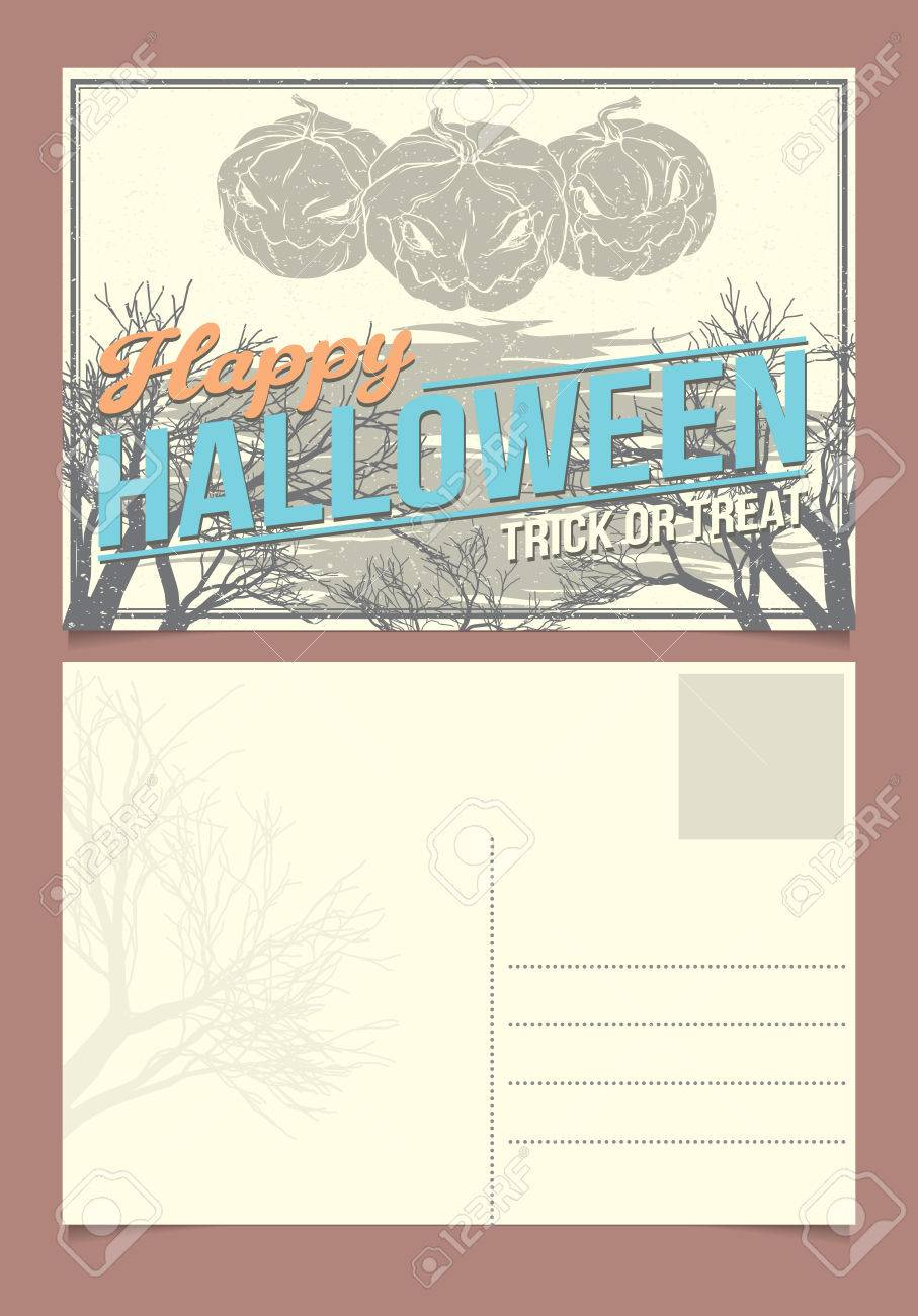 Halloween Postcard Template. Front And Back Sides Royalty Free ...