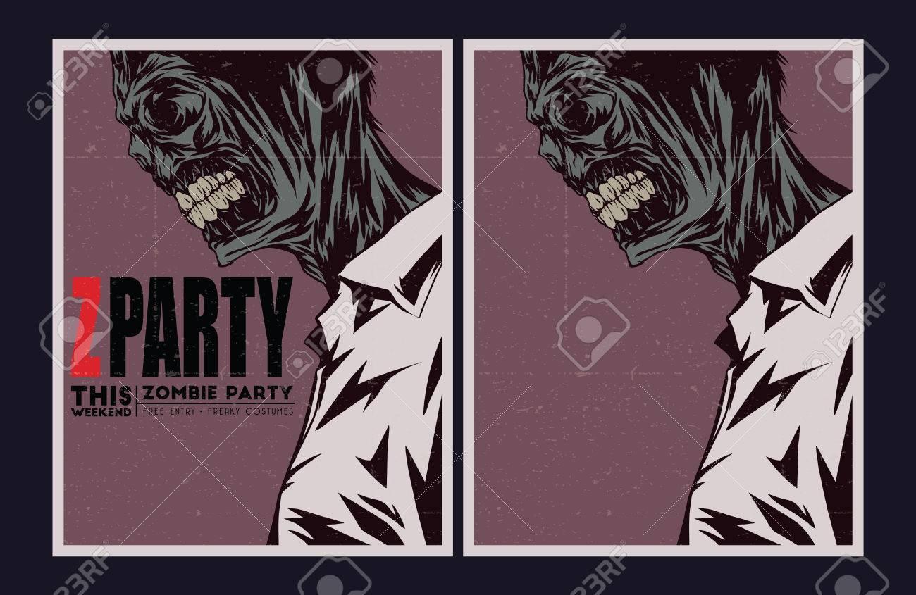 Halloween Poster Zombie Party Invitation Set Royalty Free – Zombie Party Invitations Free