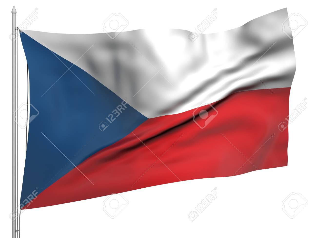 Flying Flag of Czech Republic Stock Photo - 9833382