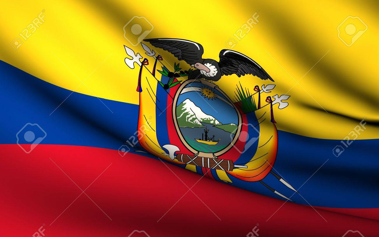Flying Flag of Ecuador | All Countries Collection | - 10072905
