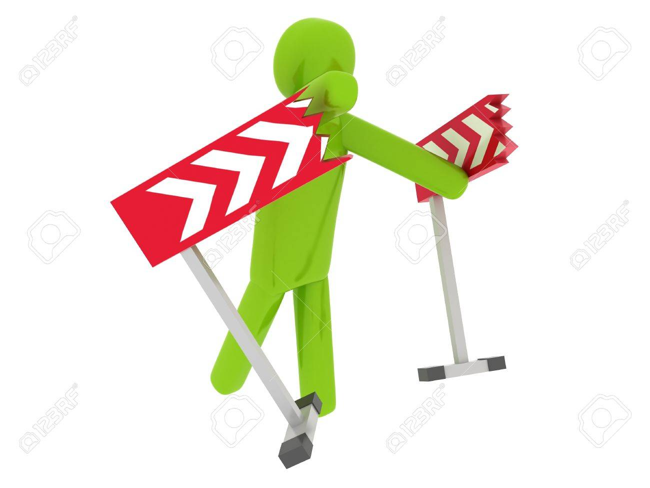 Green man breaking the barriers - Social Themes Stock Photo - 10350864