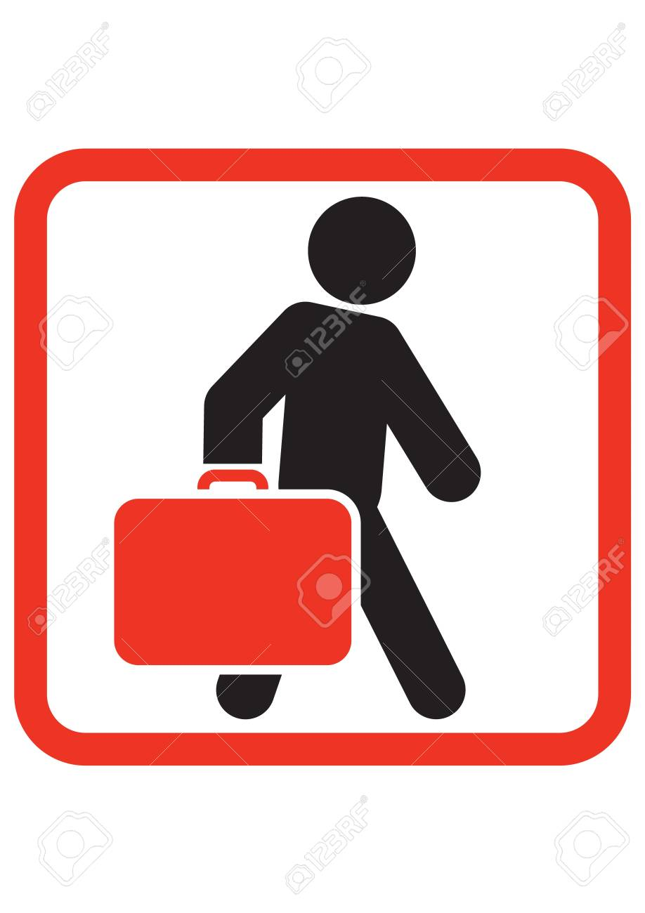 Passenger with luggage moving forward Stock Vector - 17578176