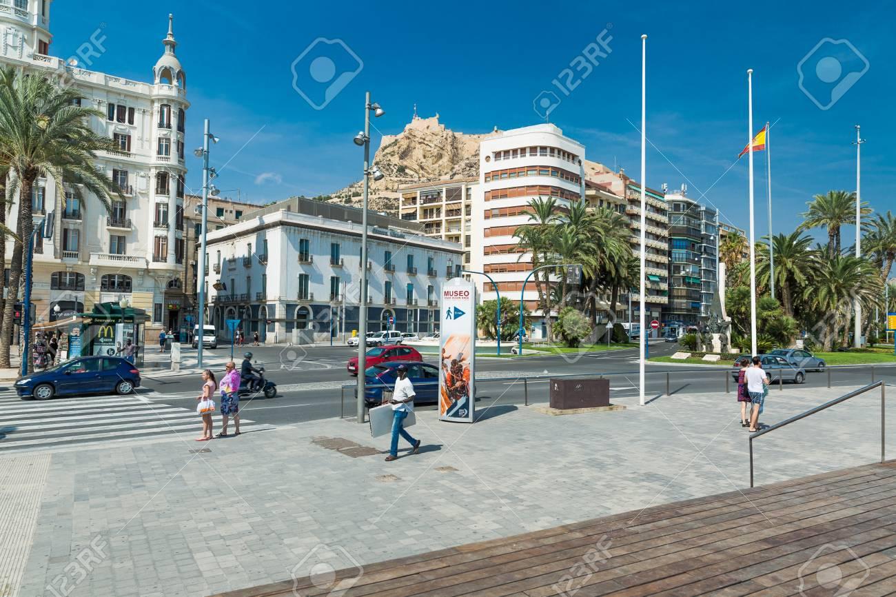 Alicante, Spain - SEPTEMBER 2015: Square 'Plaza Puerta del Mar' at summer day - 61559899