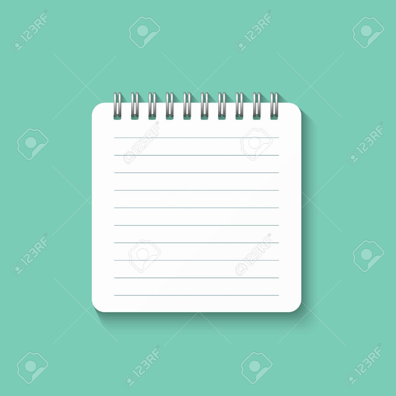 Template With Spiral Notebook Isolated On A Green Background School