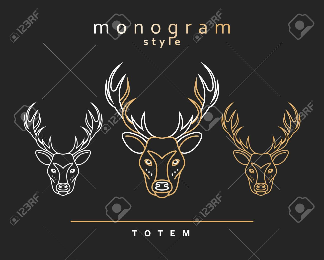 Monogram Deer. Totem Deer. A Set Of Monogrammed Deers. Sketch ...