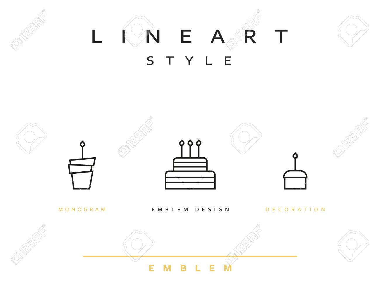 Cake Vector Icon Style Line Art Birthday Cake Cooking Pastries