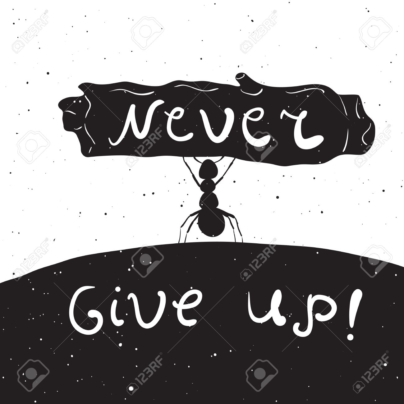 Drawn Style Rustic Illustration With Ant Inspirational Quote Never Give Up Vintage Background T Shirts Bags Greeting Card Design Typography