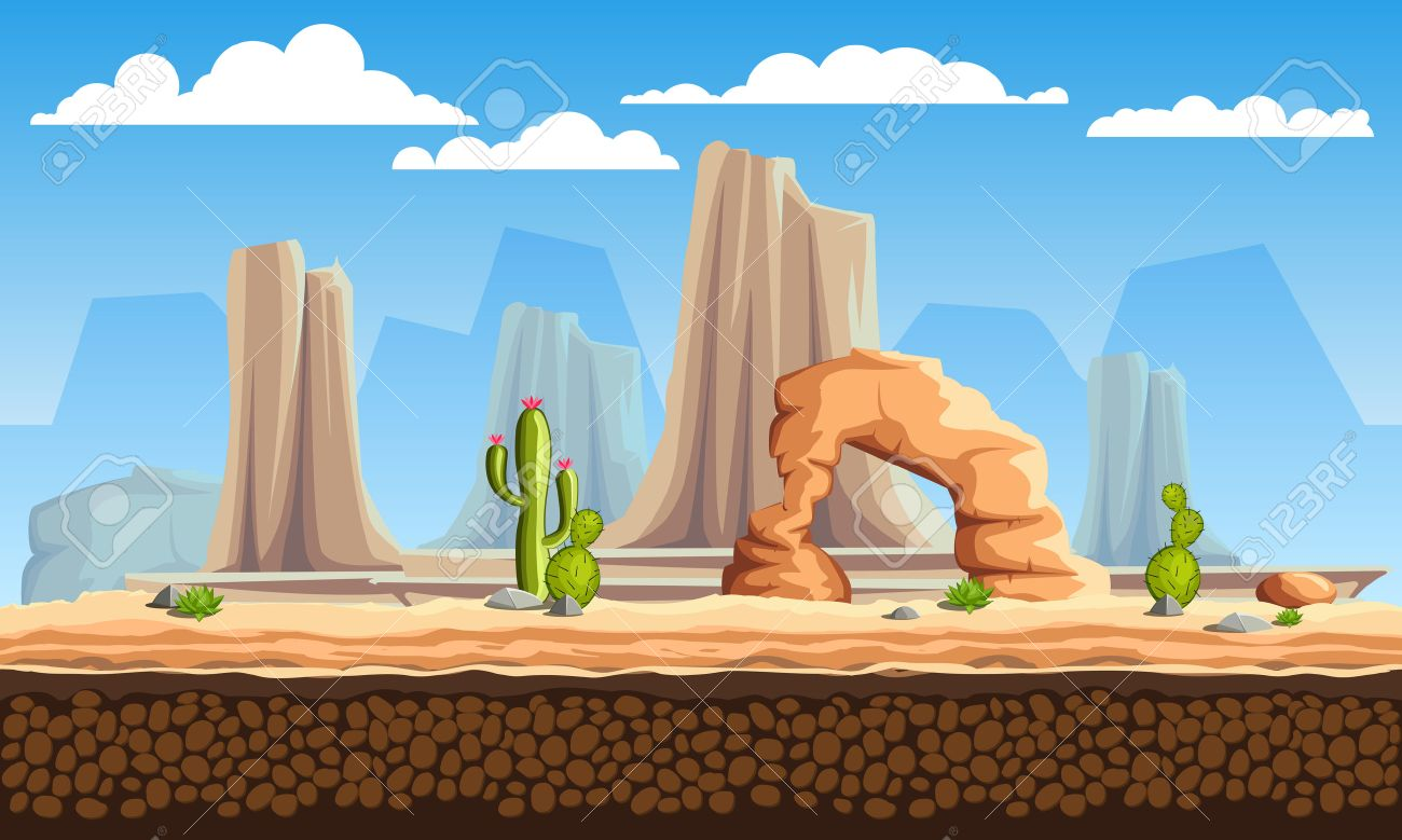 Vector seamless cartoon wild west landscape, unending background with mountains, cactuses and rocks - 52064916