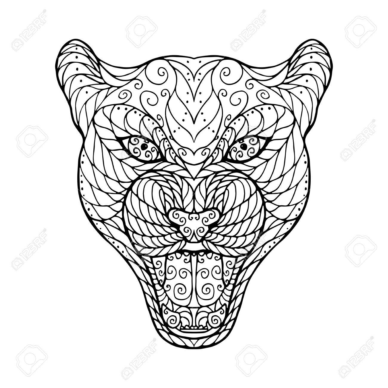 vector zen tangle head of jaguar for adult anti stress coloring page with high details isolated on white background hand drawn illustration - Zen Coloring Pages