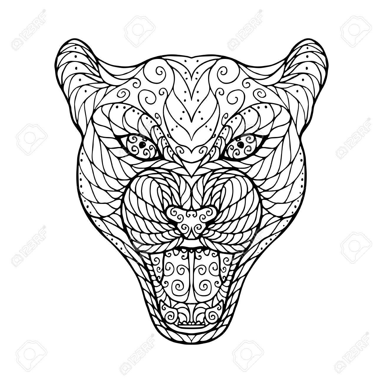 Zen Wirwar Hoofd Van Jaguar Voor Volwassen Anti Stress Kleurplaat