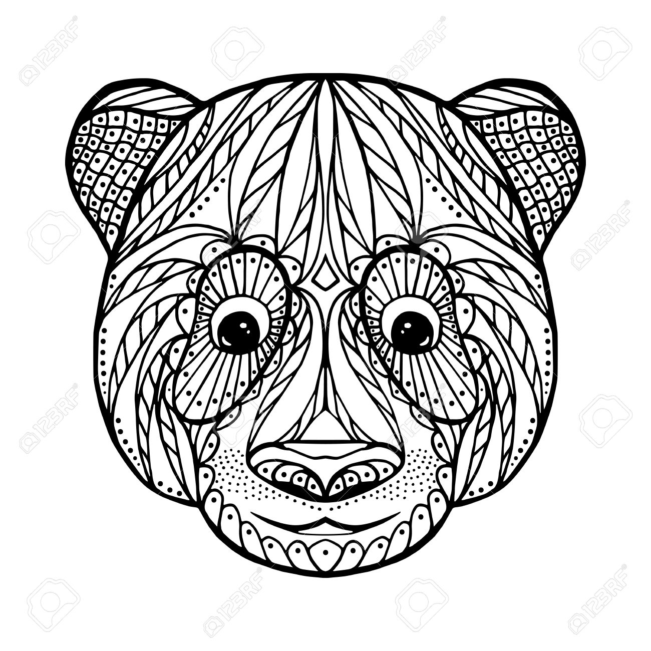 Zen Tangle Head Of Panda, For Adult Anti Stress Coloring Page ...