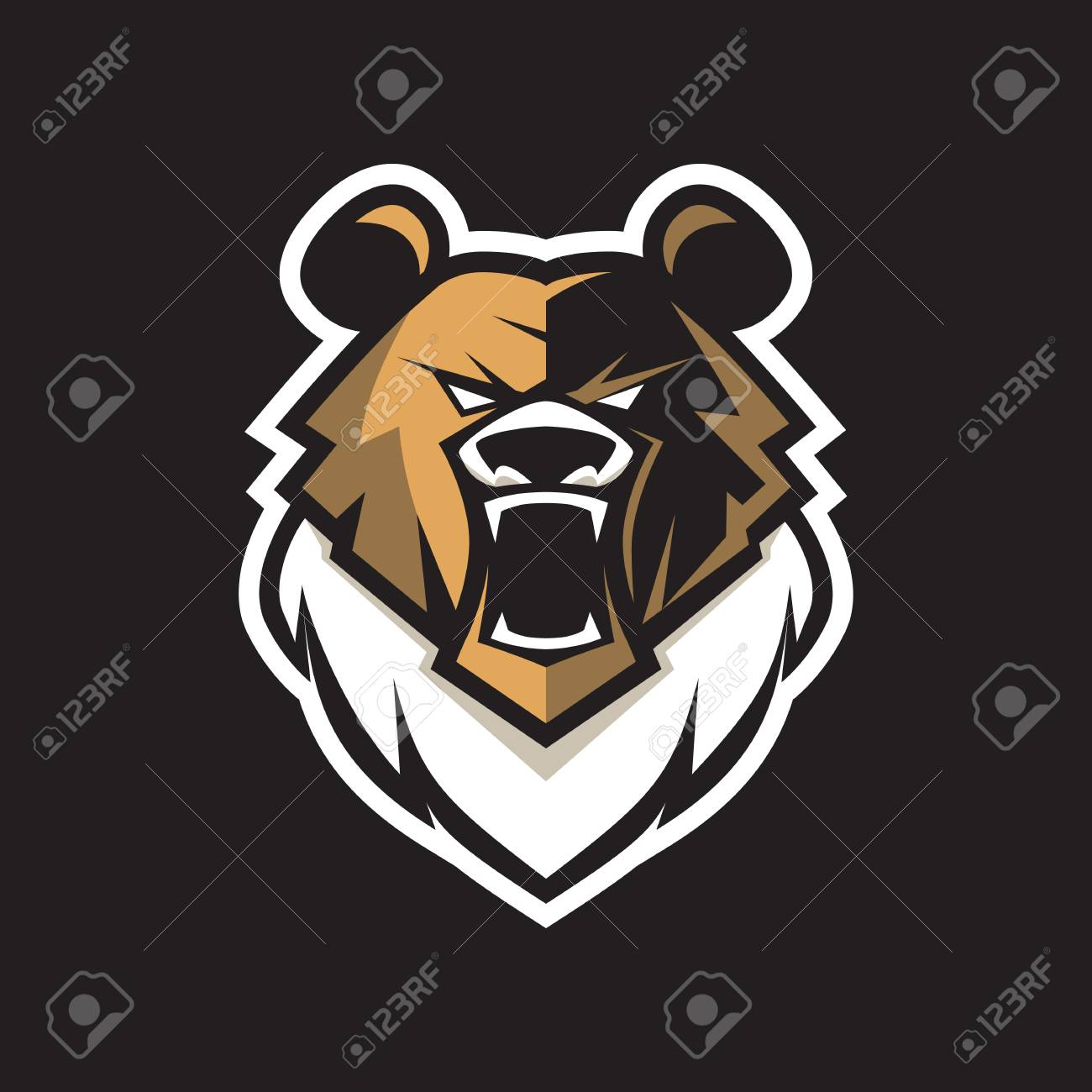 vector logo bear for game team can use for sticker label print