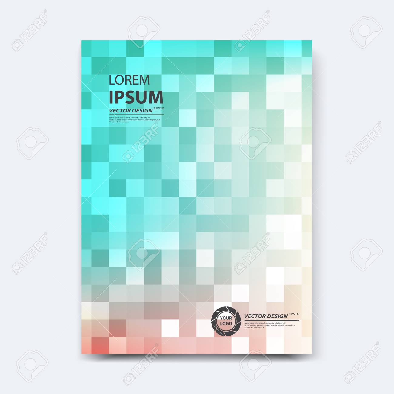 Abstract vector design for cover, poster, banner, flyer, business card, magazine annual report, title page, brochure template layout or booklet .A4 size with geometric shapes on white background. - 104581684