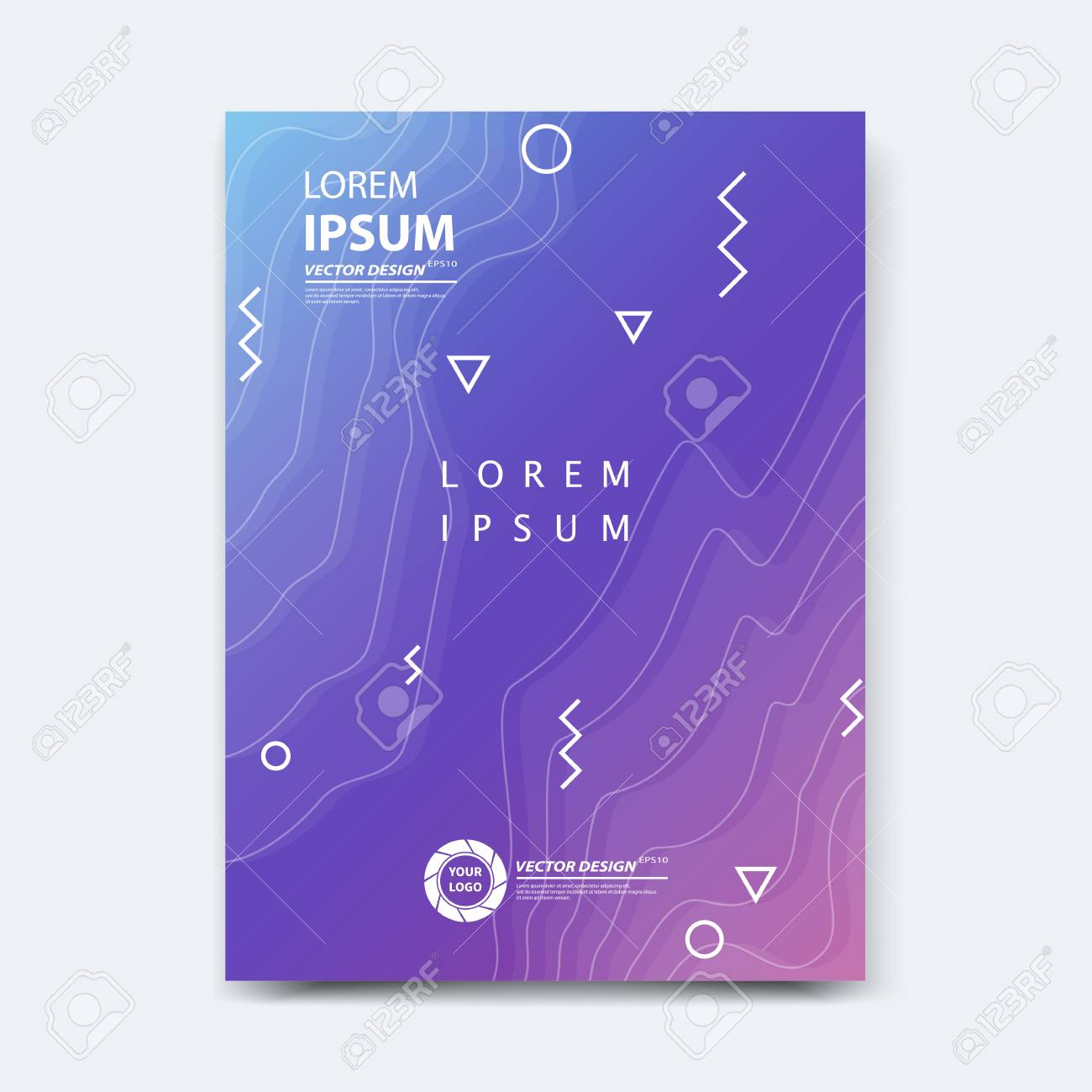 Abstract vector design for cover, poster, banner, flyer, business card, magazine annual report, title page, brochure template layout or booklet .A4 size with geometric shapes on white background. - 104581709