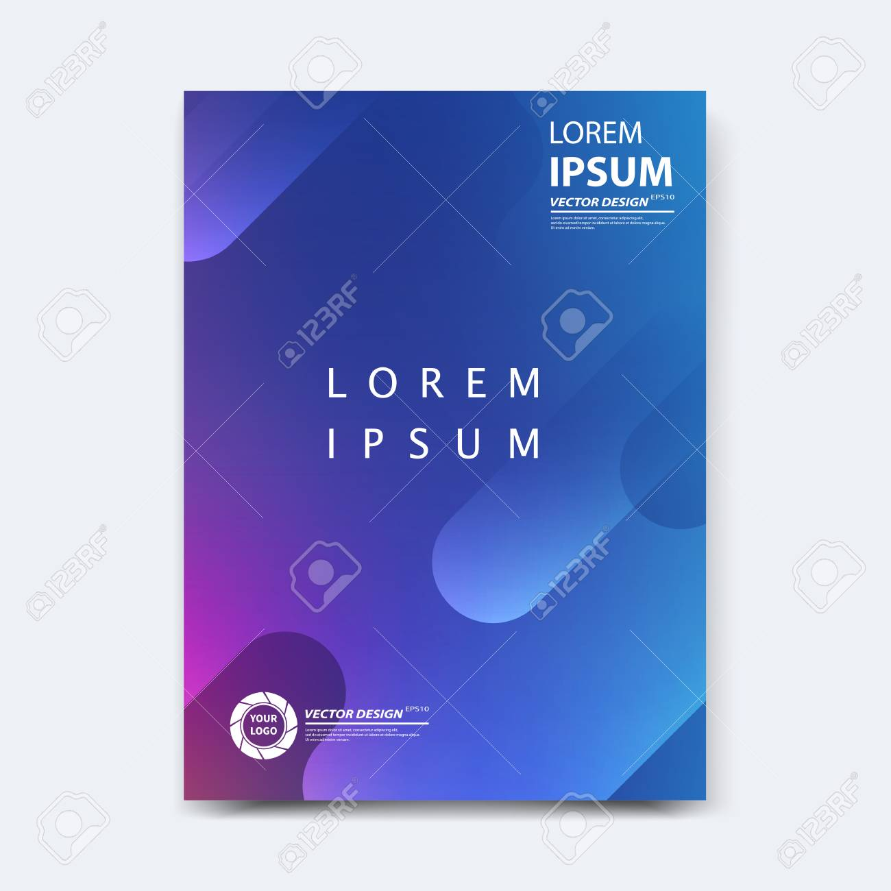 Abstract vector design for cover, poster, banner, flyer, business card, magazine annual report, title page, brochure template layout or booklet .A4 size with geometric shapes on white background. - 104581712