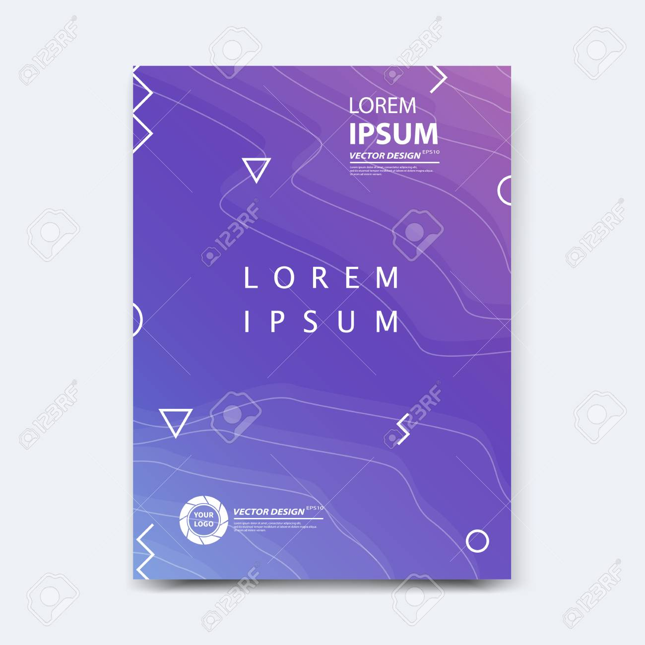 Abstract vector design for cover, poster, banner, flyer, business card, magazine annual report, title page, brochure template layout or booklet .A4 size with geometric shapes on white background. - 104581713