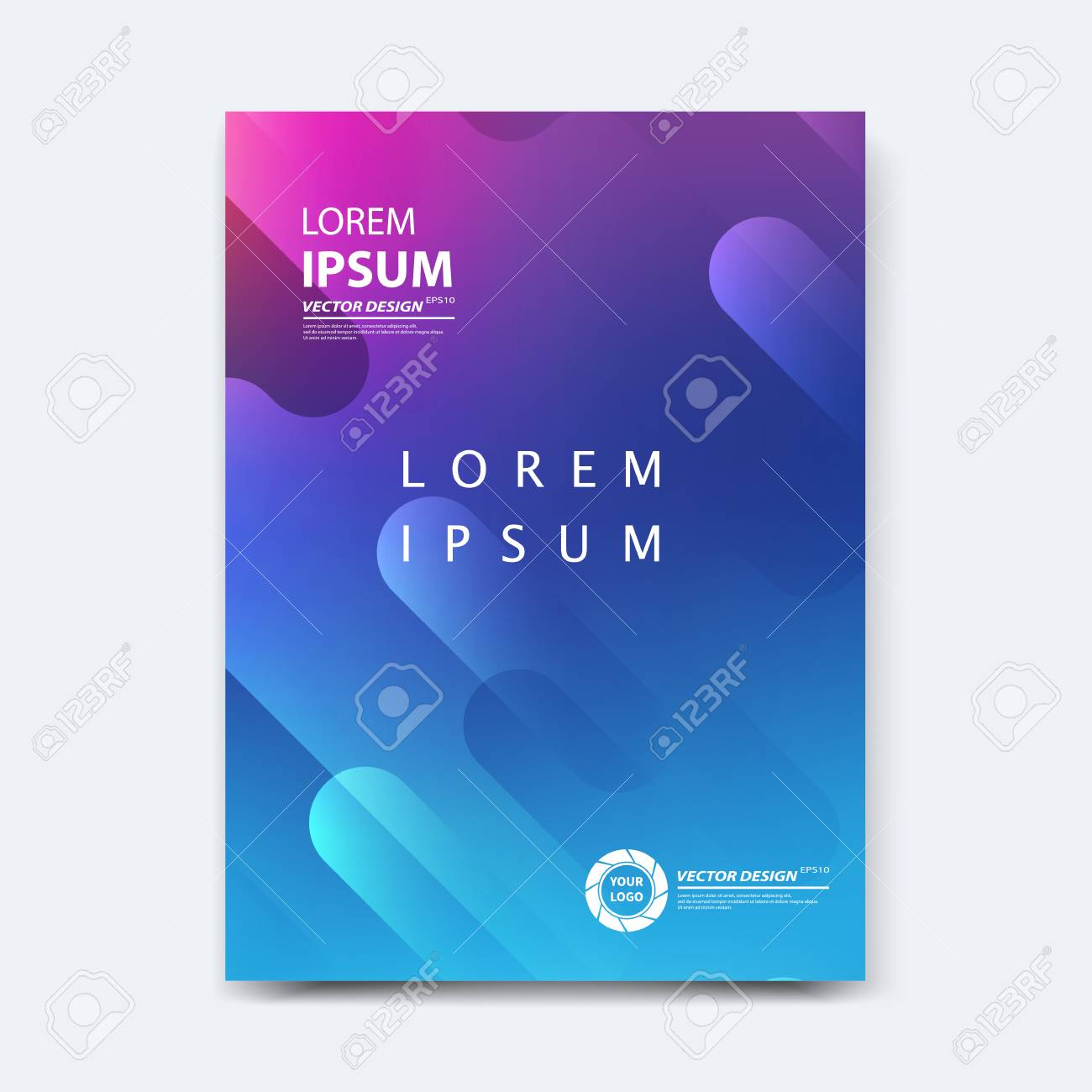 Abstract vector design for cover, poster, banner, flyer, business card, magazine annual report, title page, brochure template layout or booklet .A4 size with geometric shapes on white background. - 104581716