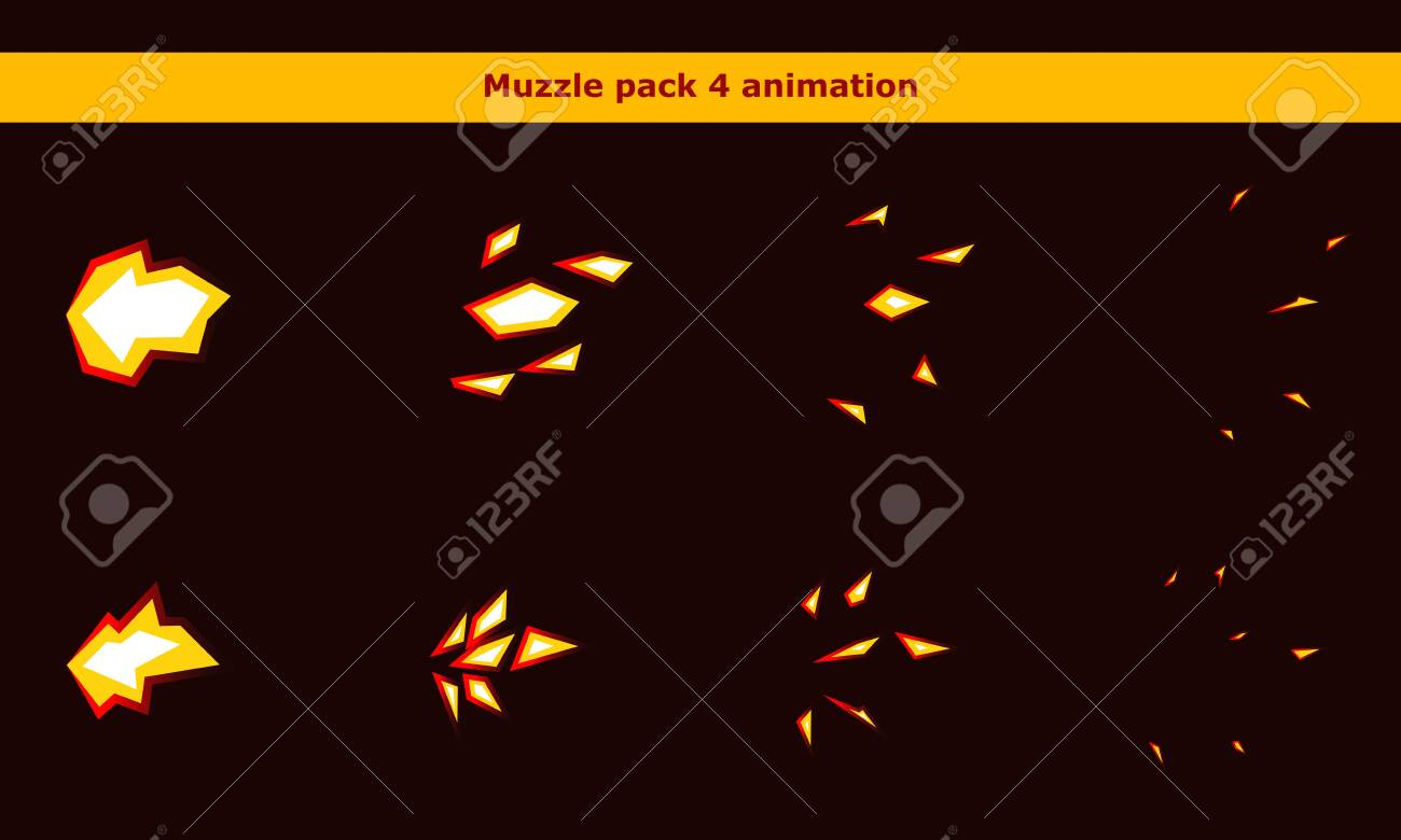 Fire weapon muzzle animation frames for cartoon game - 137543587