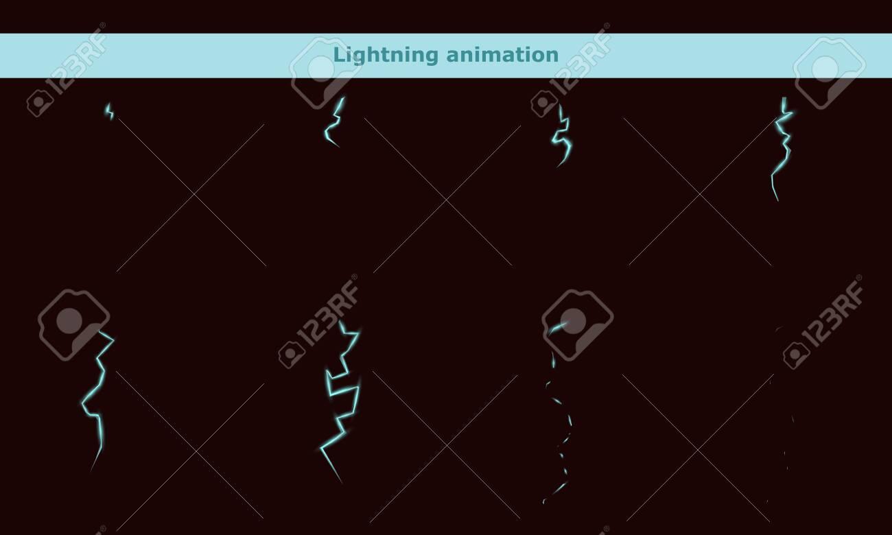 vector lightning animation frames for cartoon game - 137543712