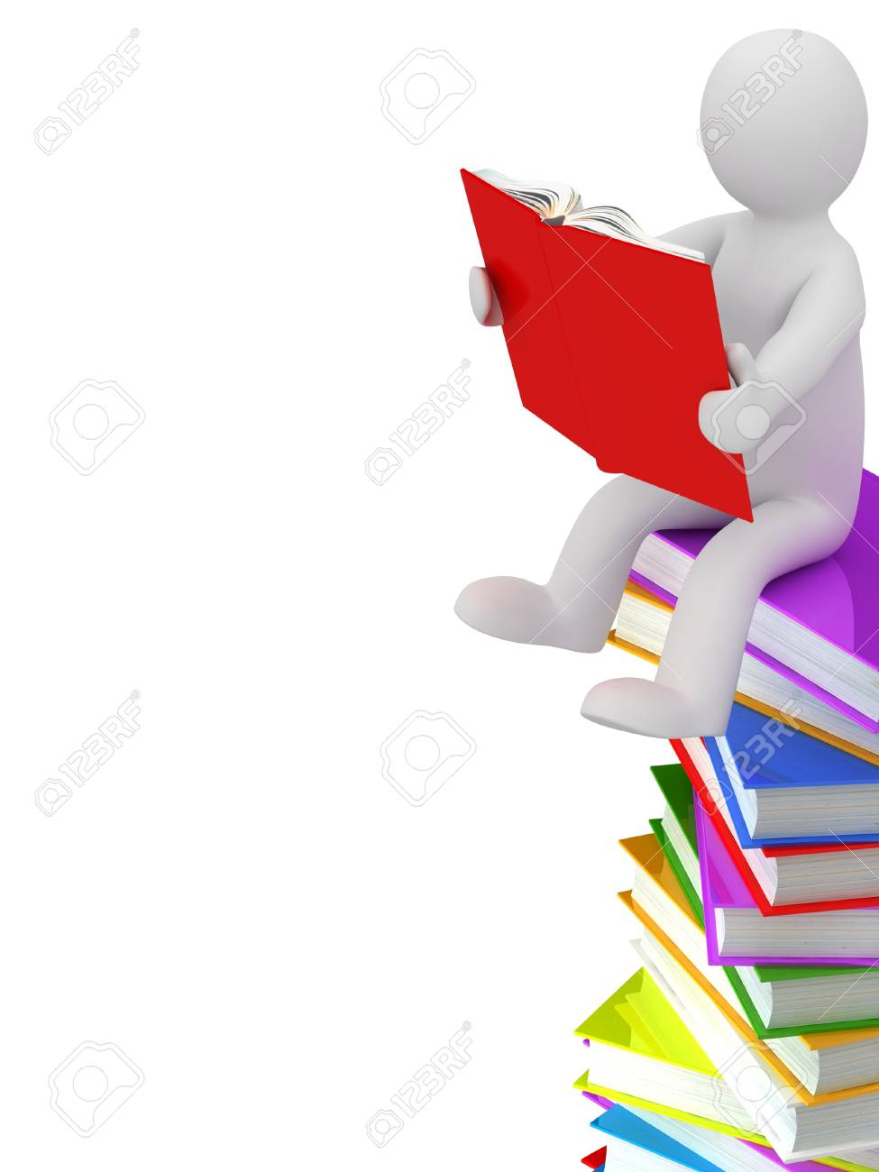 3D puppet on a pile of books, isolated on white background Stock Photo - 18326825