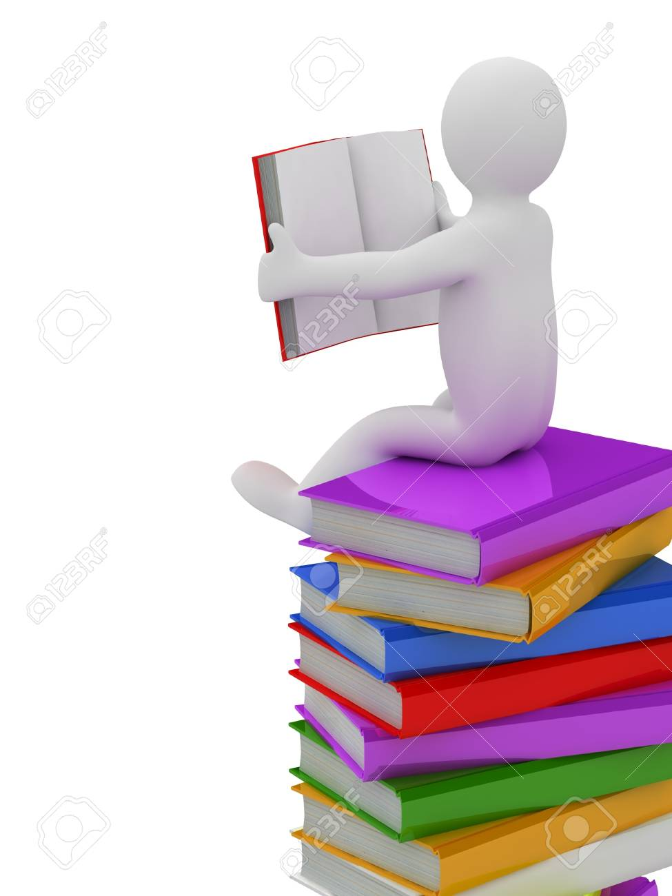 3D puppet on a pile of books, isolated on white background Stock Photo - 18326836