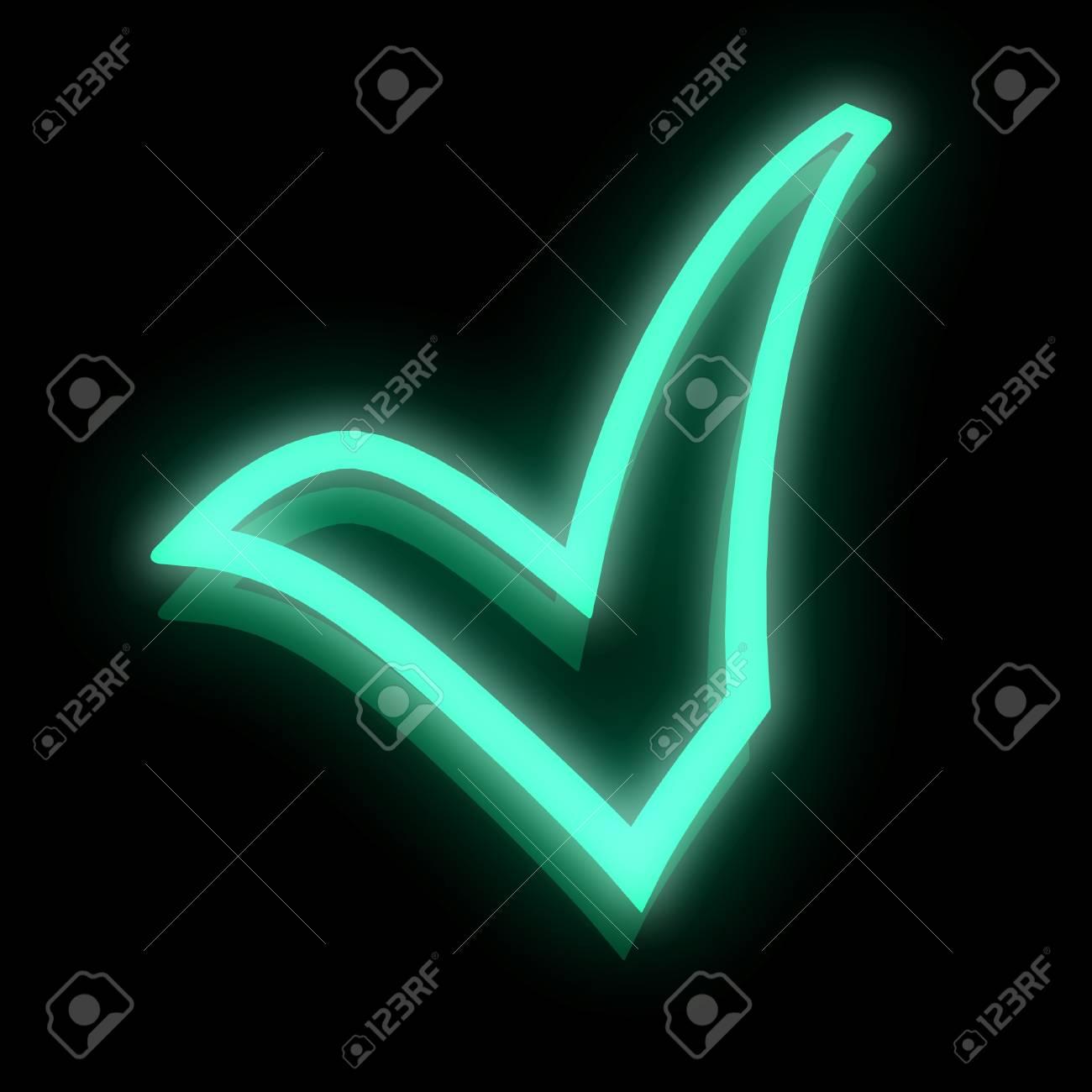 3D neon abstract check mark Stock Photo - 18337376