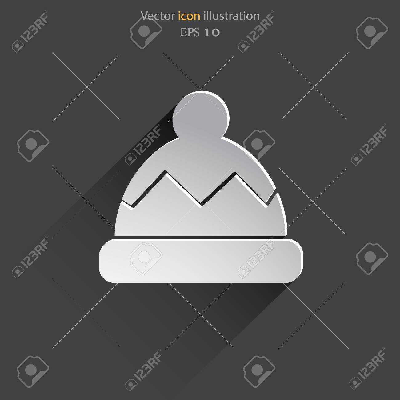Vector Winter Cap Web Flat Icon. Royalty Free Cliparts a3289c37580