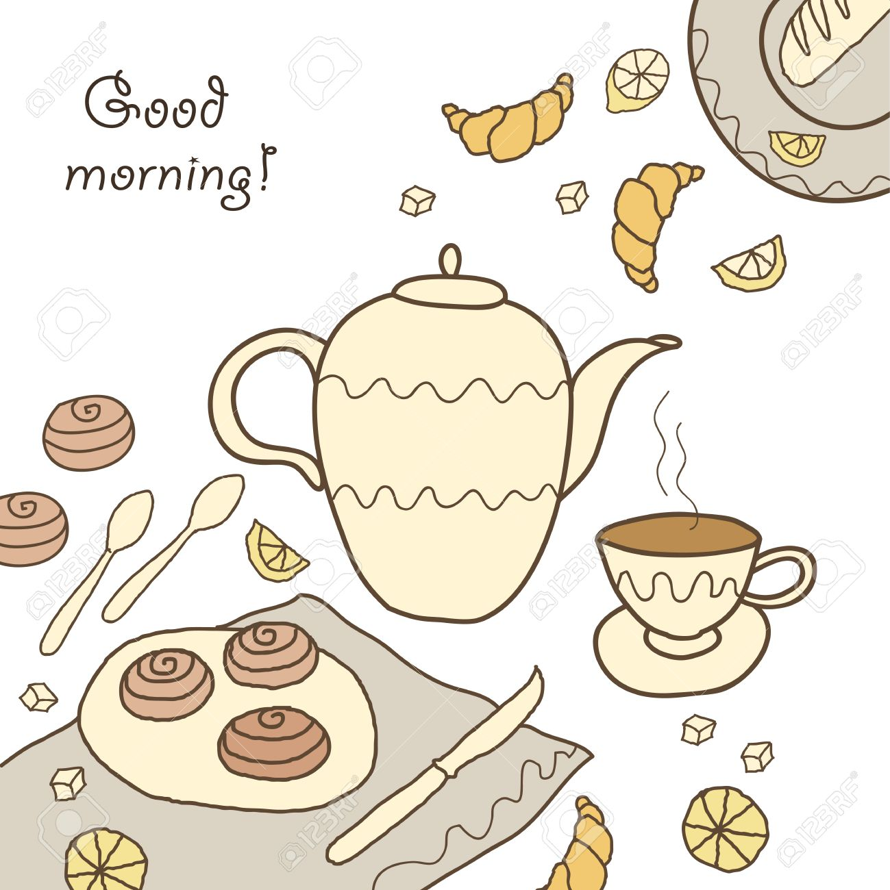 Tea, Coffee And Sweets Doodle Template Patern Invitation On On ...