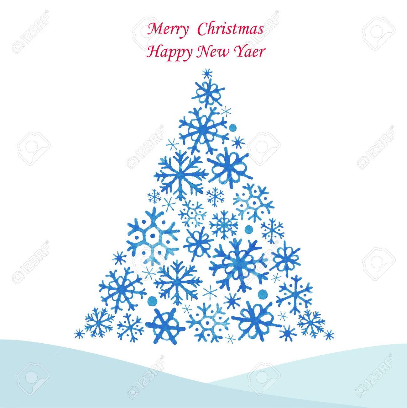 Weihnachtsbaum Aus Snowflakes.Watercolor Abbildung. Vector ...