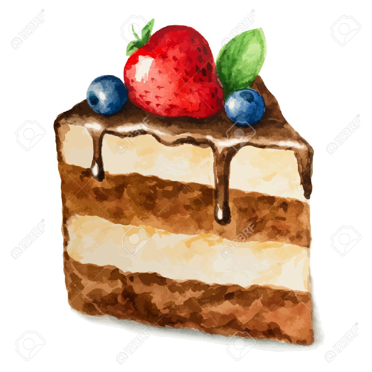Vector watercolor pie, piece of cake. It can be used for card, postcard, birthday card, menu - 34800011