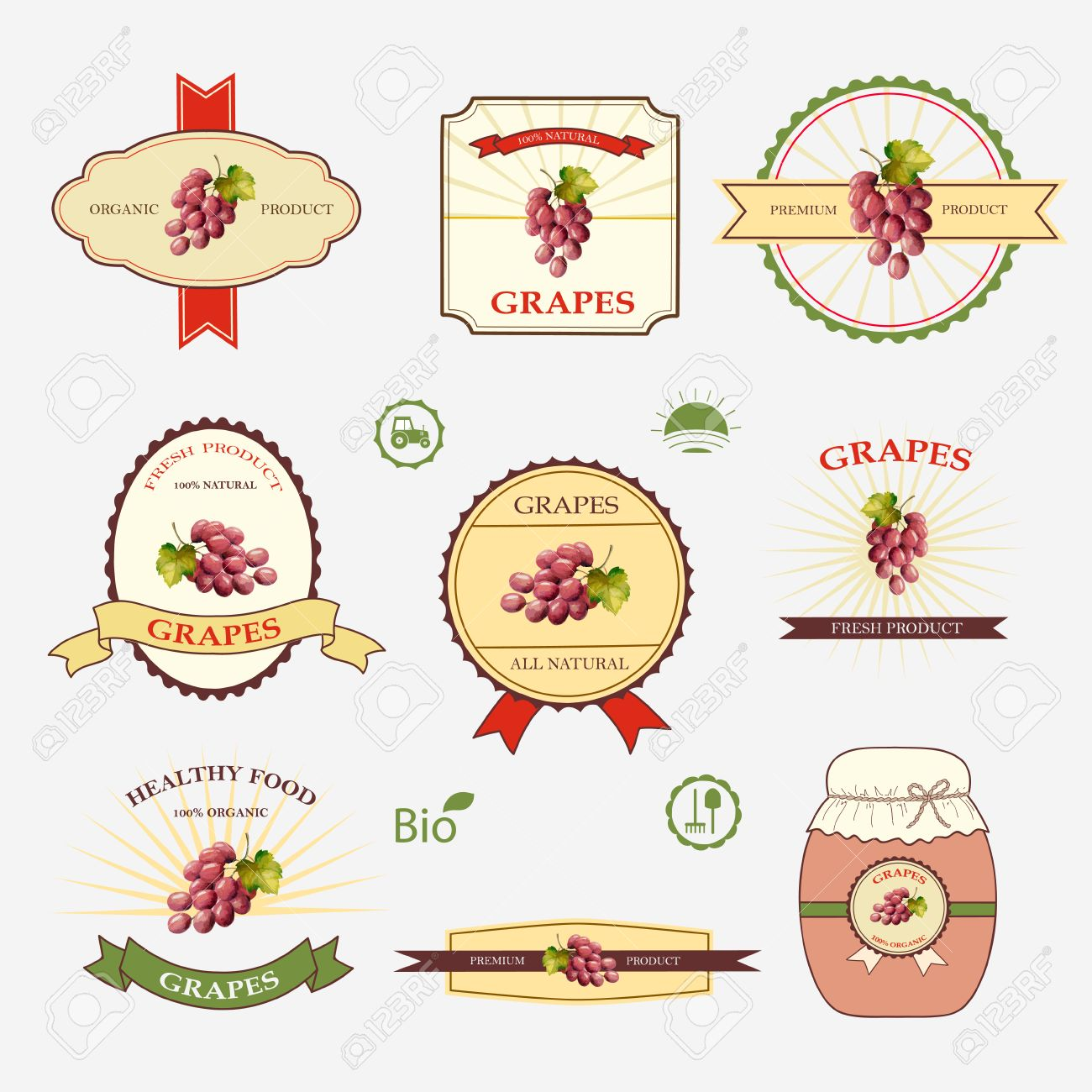 Grapes, A Set Of Label Design And Templates, Vector Illustration ...