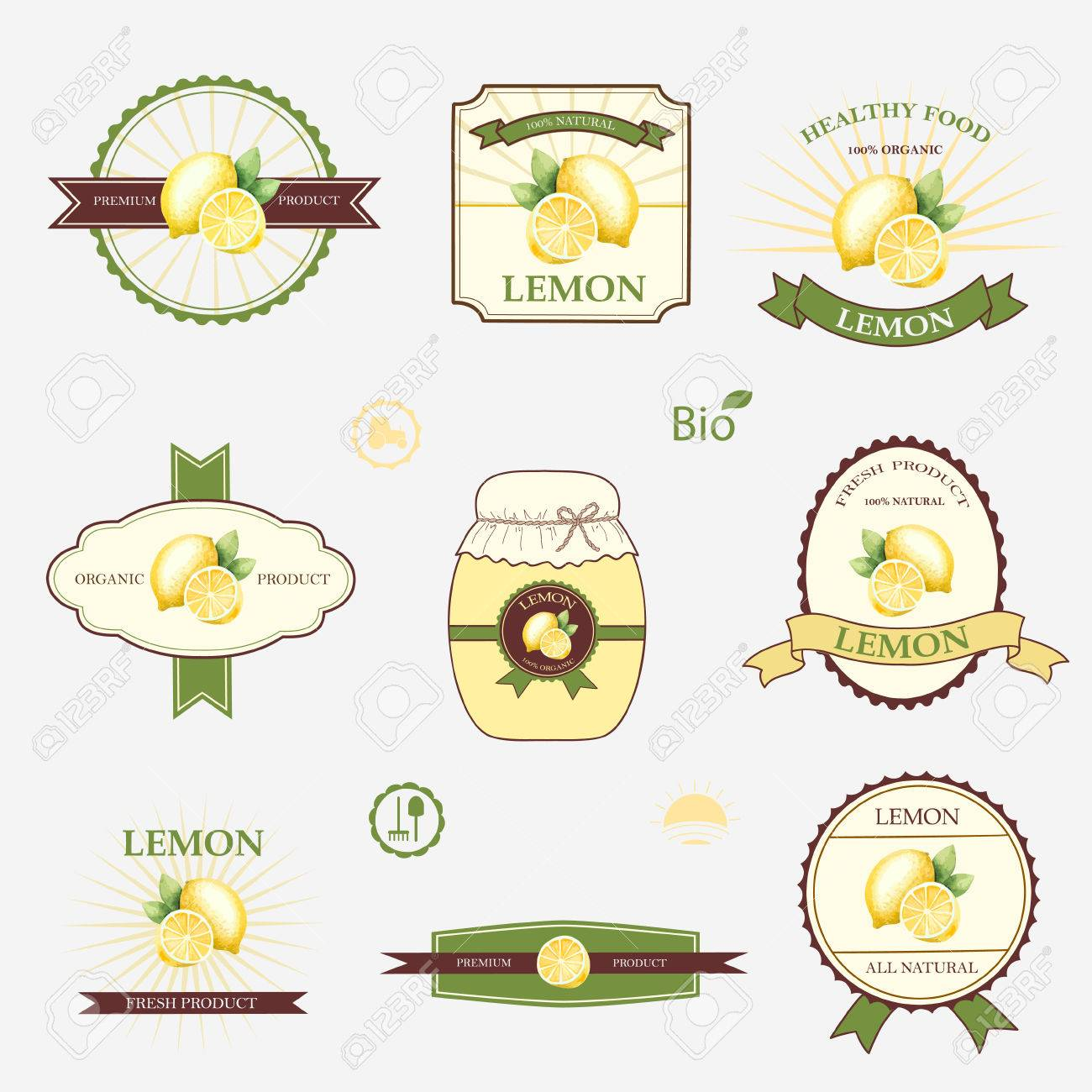 Lemon, Set Of Label Design And Templates, Vector Illustration ...