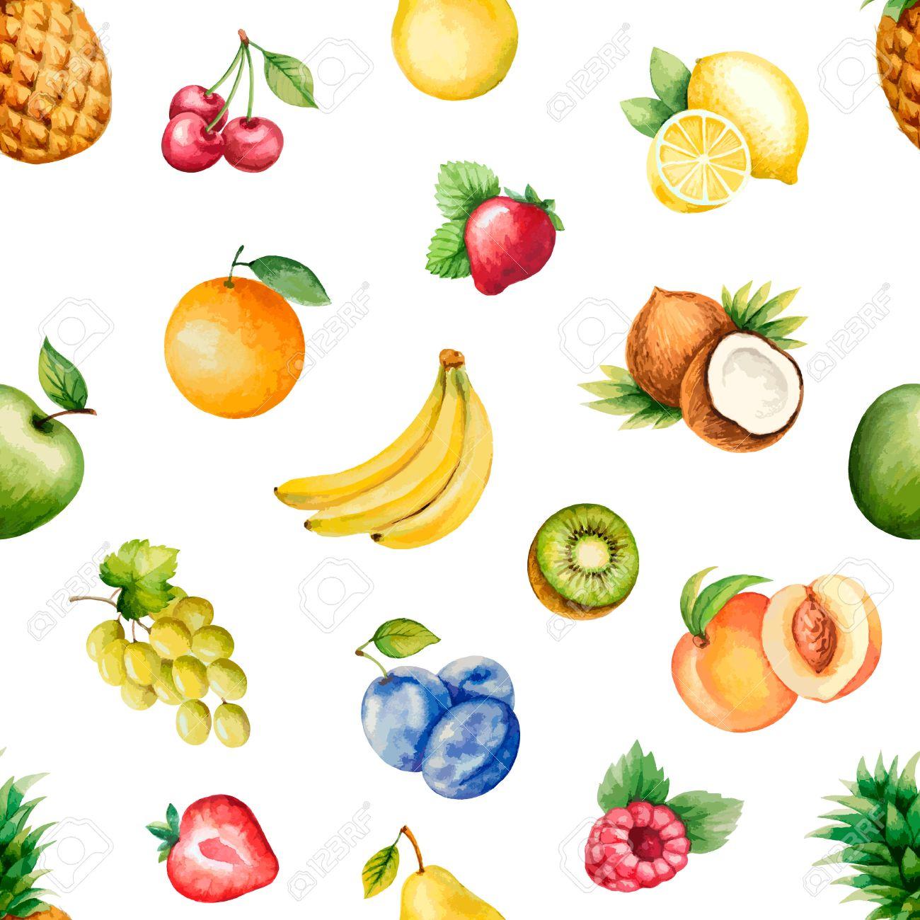 Aquarell Früchte, Muster, Gesunde Nahrung; Ernährung Products.Vector ...