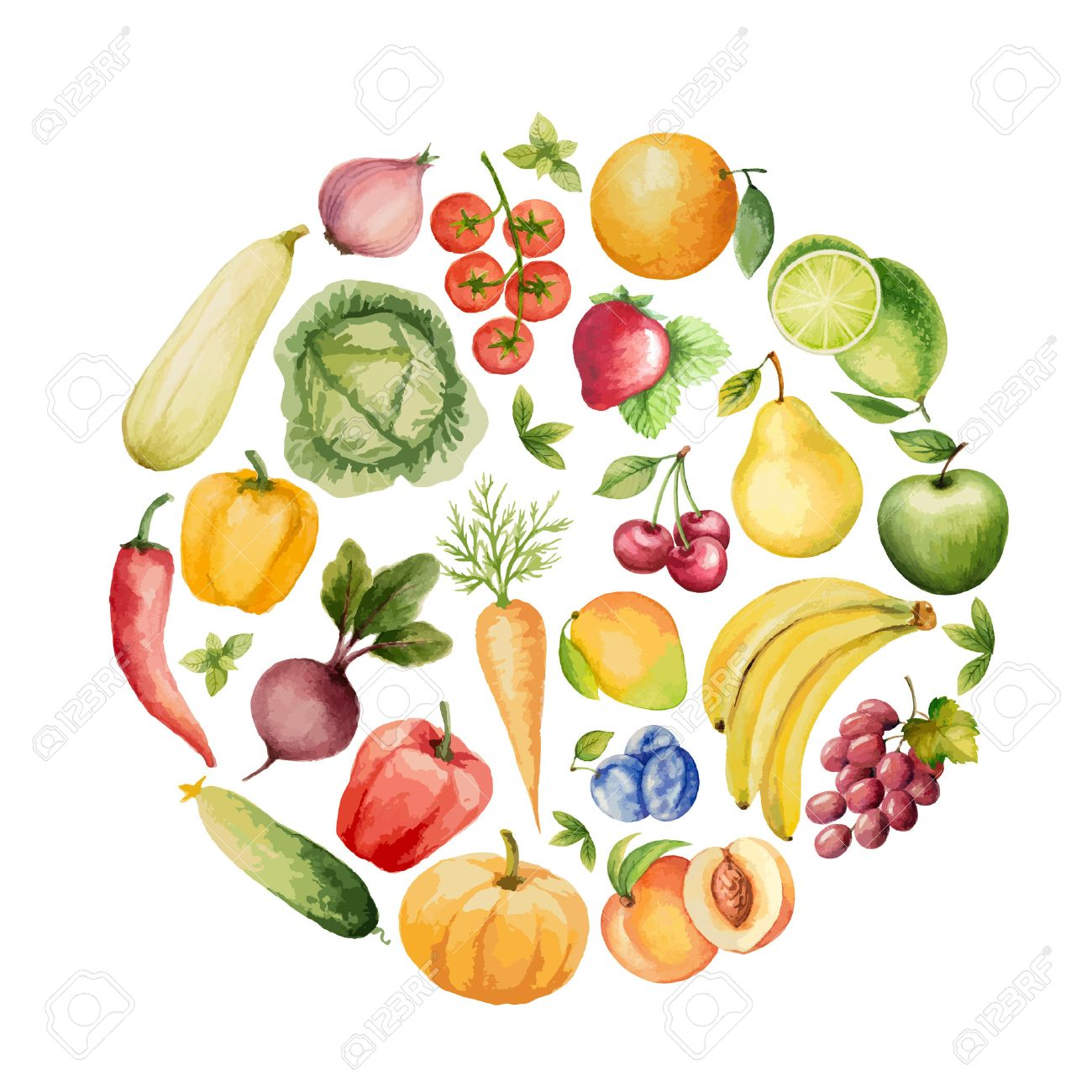 set of watercolor vegetables and fruits template for your design