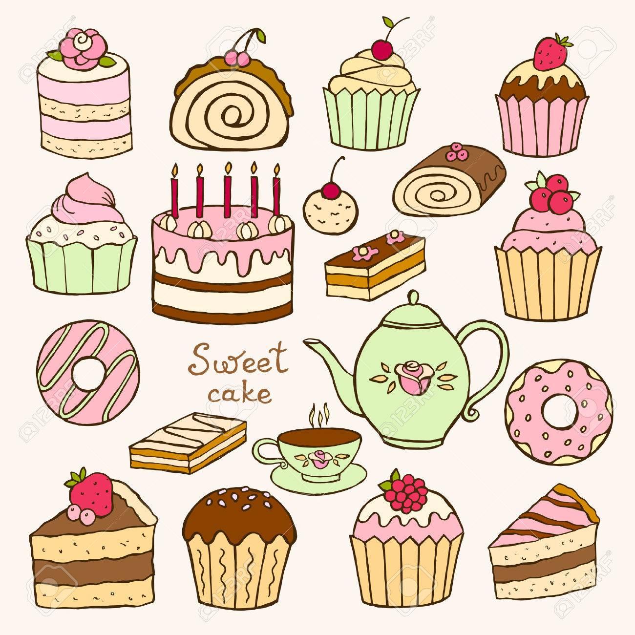 Set Von Hand Gezeichnet Susse Kleine Kuchen Und Torten Vektor