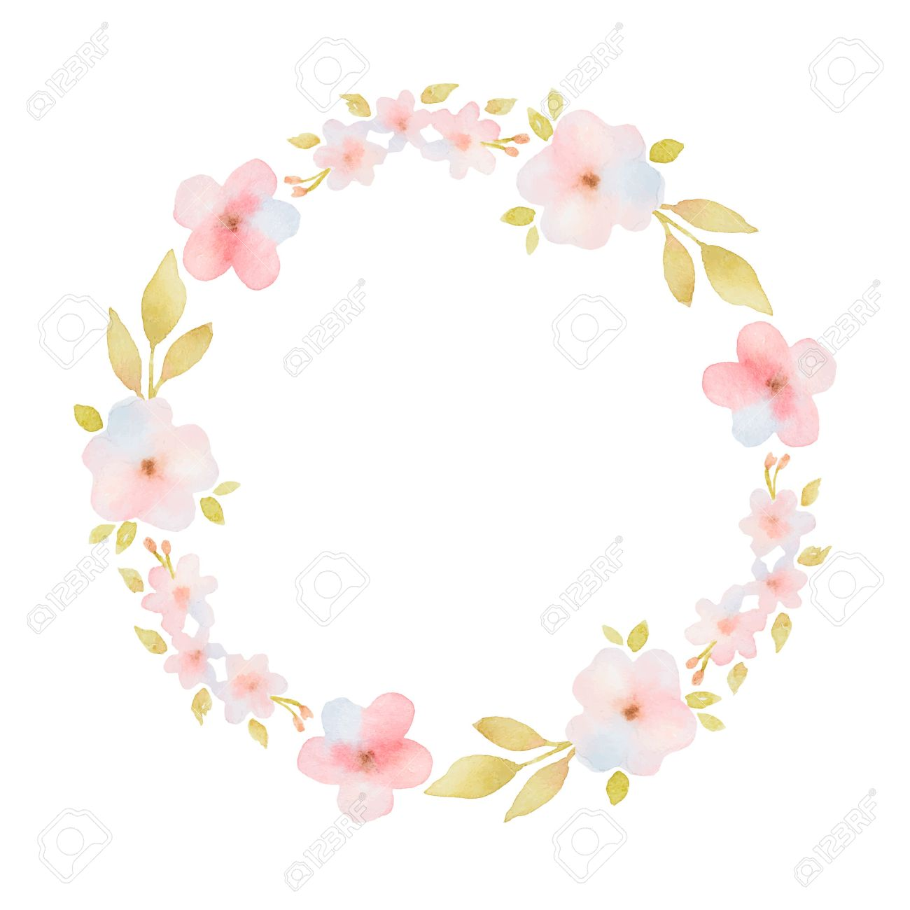Watercolor Round Frame With Delicate Pink Flowers And Leaves