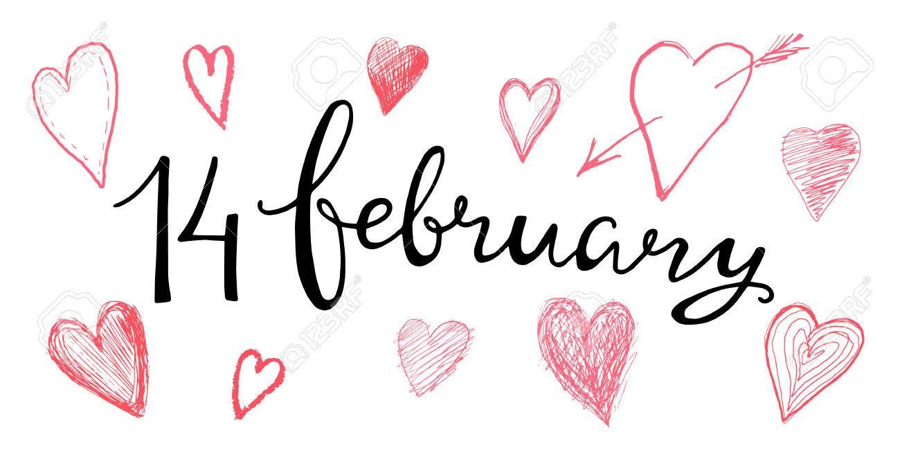 Valentines Letras De La Mano 14 De Febrero Para El Diseño De Tarjetas Invitaciones Etiquetas Plantilla Texto Caligráfico En El Tema Del Amor