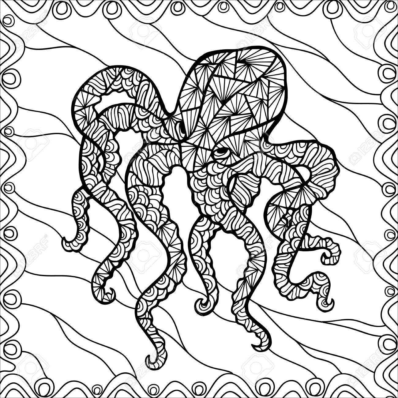 stylized vector octopus isolated on white background can be