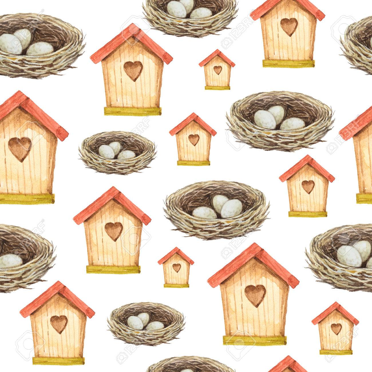 Casa para pájaros y nidos de acuarela patrón transparente. Pintado a mano  ilustración. Foto dae2666e95e