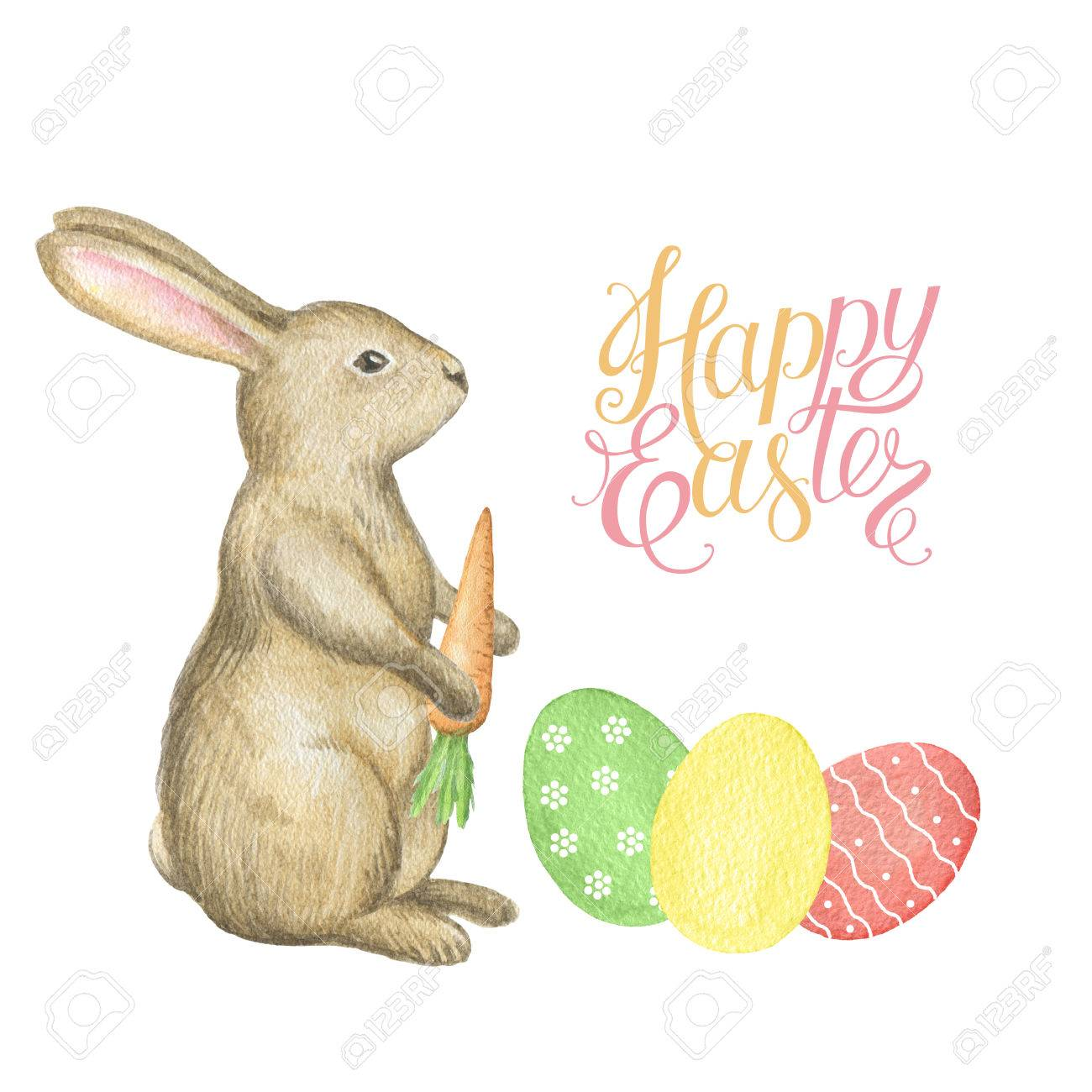 Happy easter watercolor rabbit eggs and a letter template for happy easter watercolor rabbit eggs and a letter template for greeting cards and invitations spiritdancerdesigns Image collections
