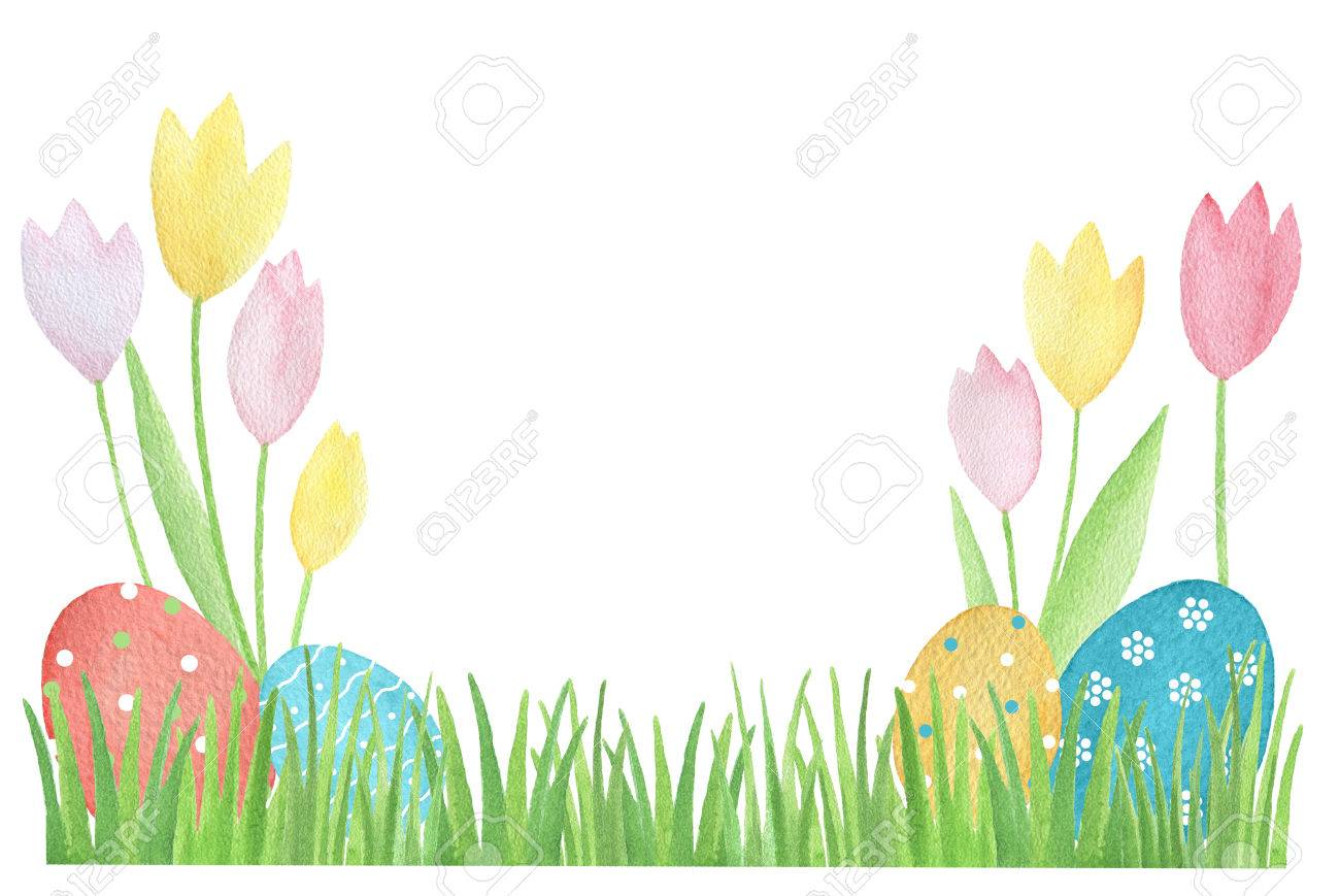 Watercolor easter card with colored eggs and flowers design stock stock photo watercolor easter card with colored eggs and flowers design element for greeting cards note cards and invitations m4hsunfo