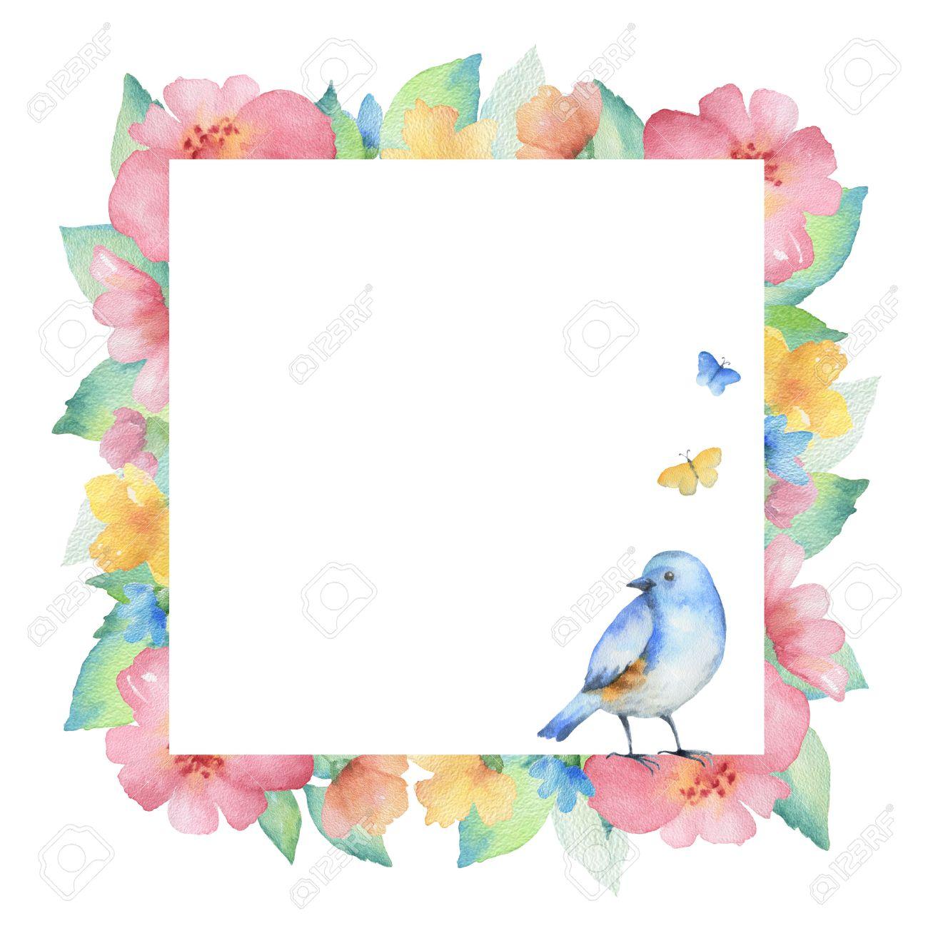 Aquarell Quadratischen Rahmen Von Bunten Blumen, Schmetterlinge Und ...