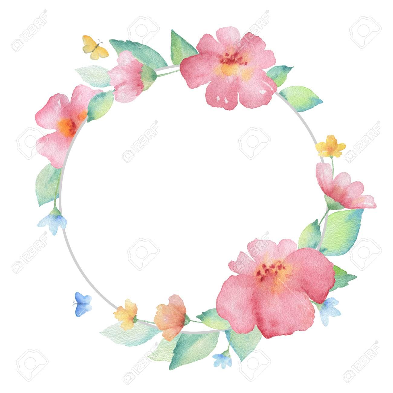 Marco De La Acuarela Ronda De Flores Y Mariposas. Ideal Para ...