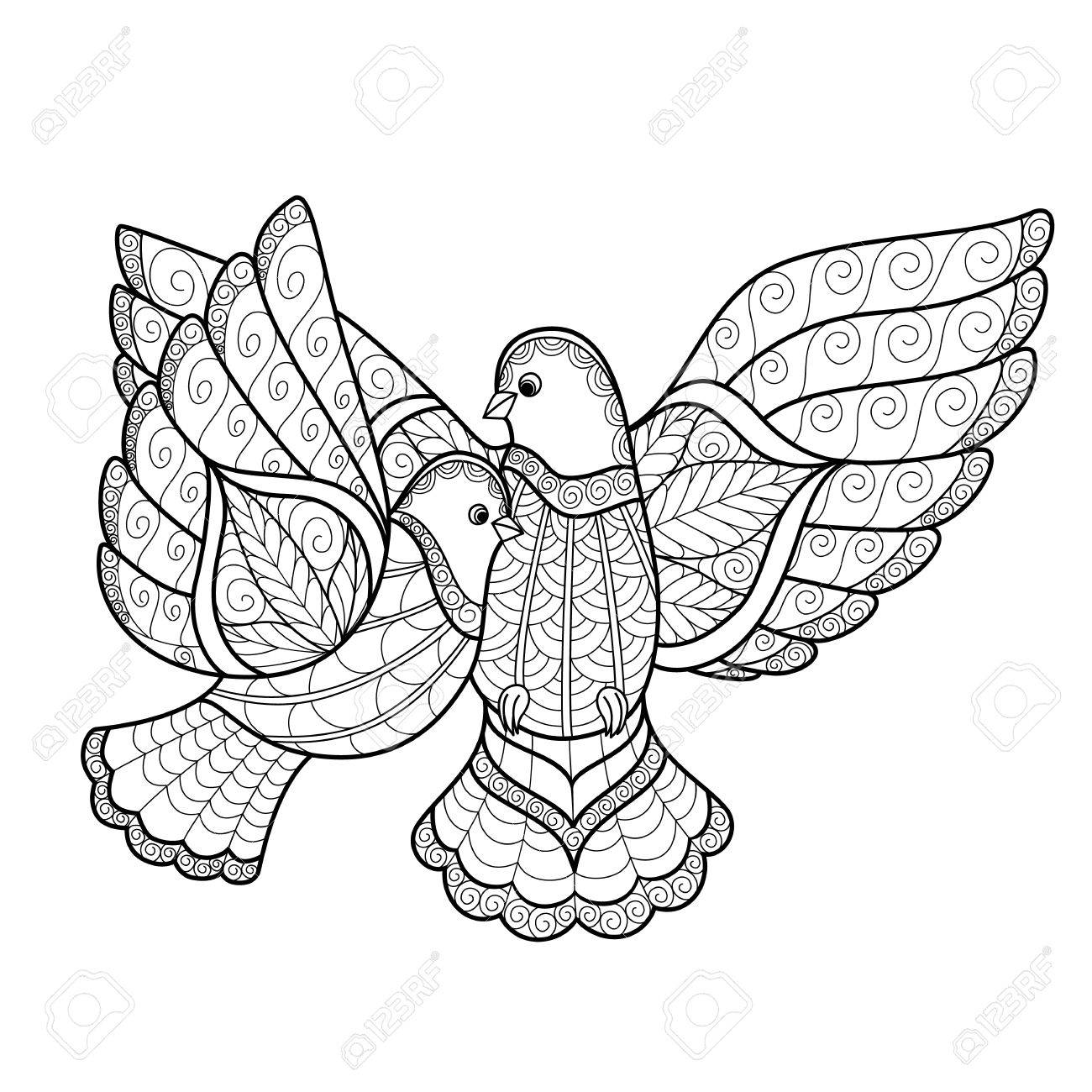 Zentangl Two Stylized Dove Vector Illustration Isolated On White
