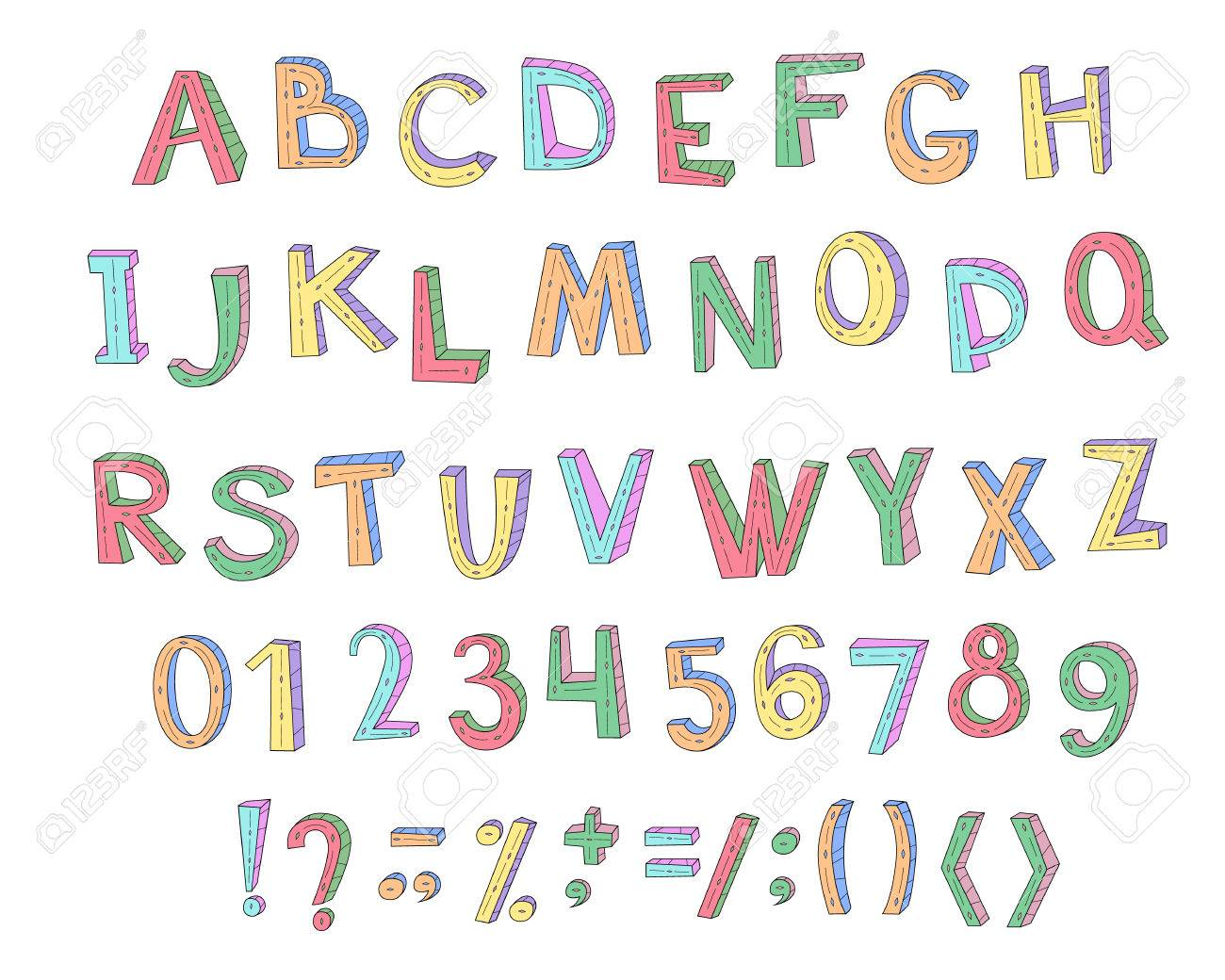 Colorful Children Abc With Numbers And Symbols For Decoration