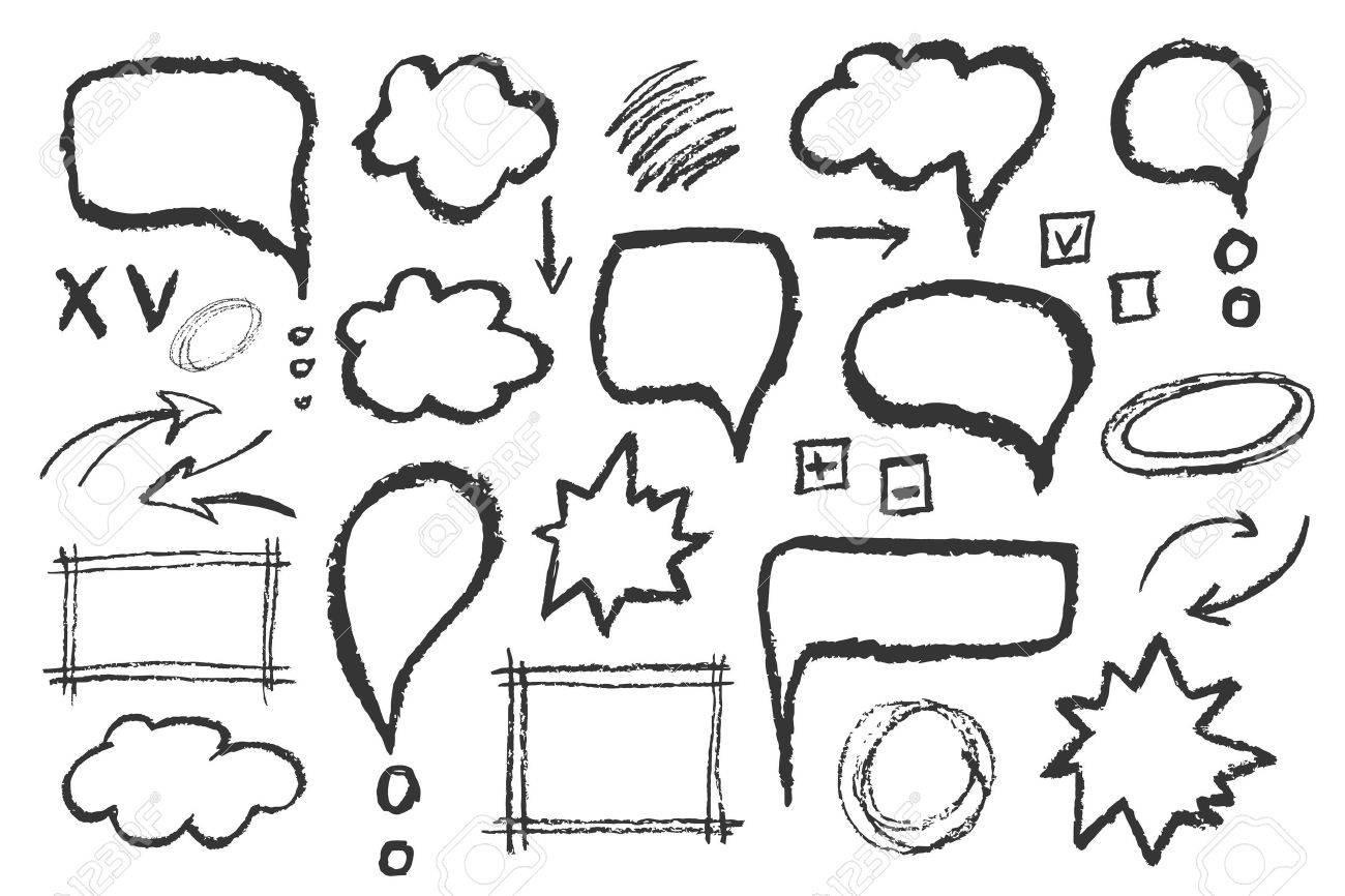 Set of message bubbles. Hand drawn vector sketch speech illustration. - 55618010