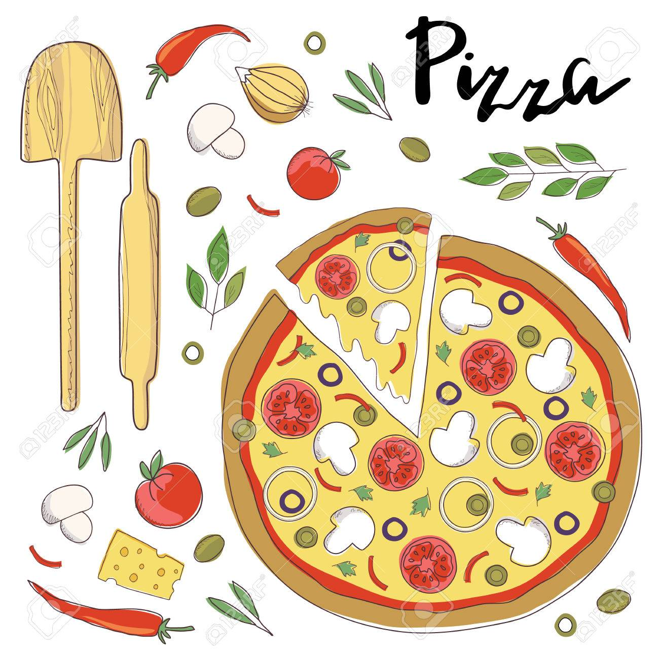 Ilustración Del Vector De Pizza Y Letras De La Mano Aislado En Un ...