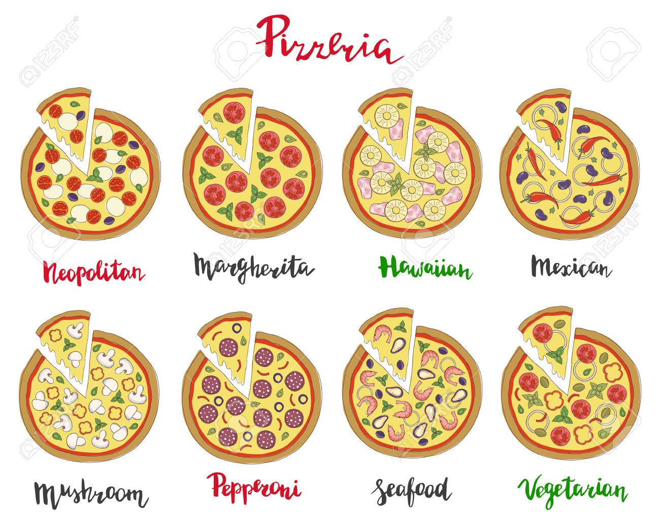 Vector Set Of Hand Drawn Pizza Popular Varieties Margarita Neapolitan Pepperoni Mexican